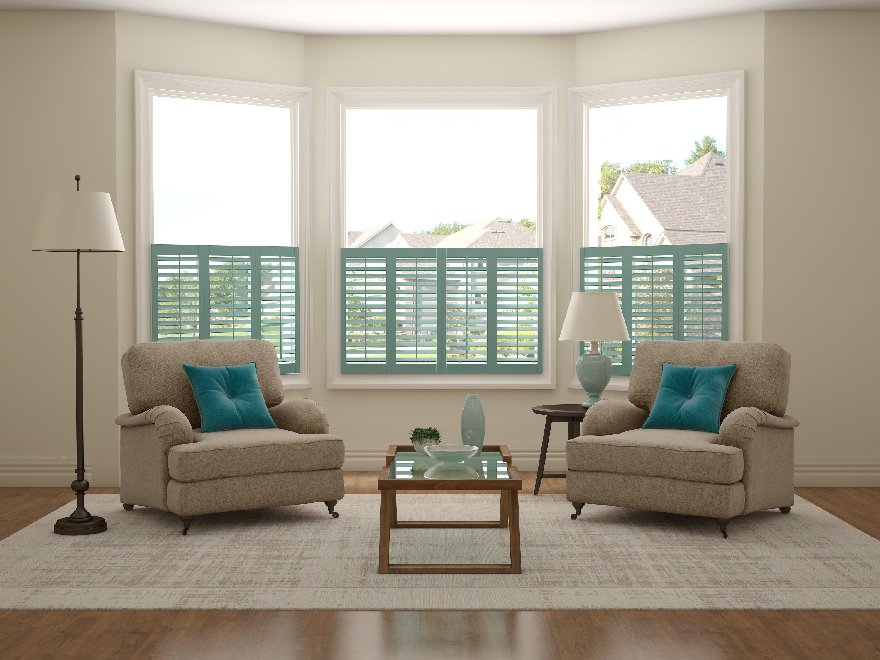 Caf style 3 sided bay window shutters absolute Are plantation shutters still in style 2017
